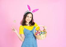 Asian Woman Wear Bunny Ear Hol...