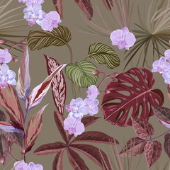 Panel Szklany Liście Floral Wallpaper Print with Exotic Orchid Blossoms, Seamless Tropical Background with Philodendron and Monstera Rainforest Plants, Jungle Flowers and Leaves, Nature Ornament. Vector Illustration