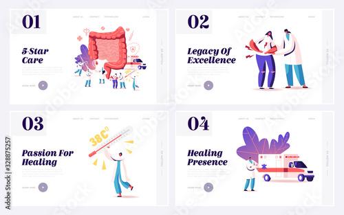 Appendix Pain, Appendicitis Disease Treatment Landing Page Template Set Canvas Print