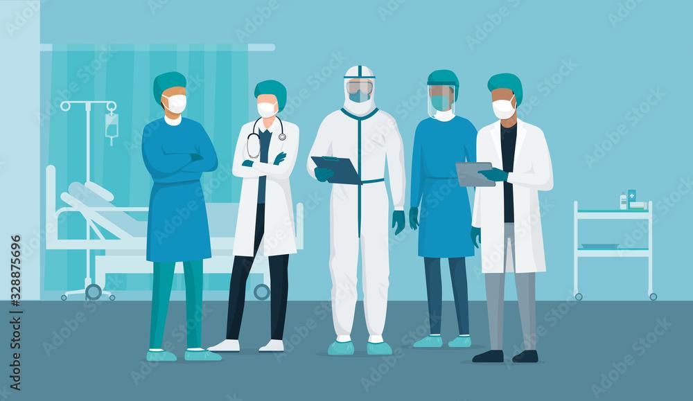 Fototapeta Brave doctors and nurses fighting coronavirus in the hospitals