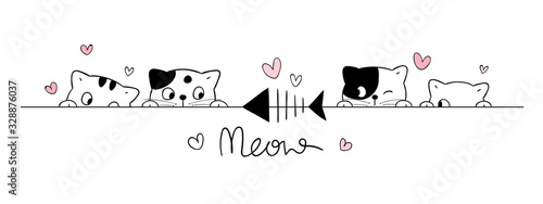 Fototapeta Draw cute cats look at fish on white. obraz