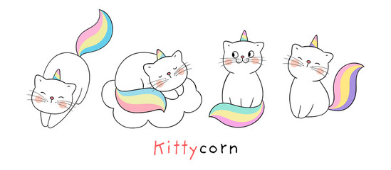 Draw collection cute cat like unicorn Isolated on white.