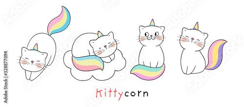 Fototapeta Draw collection cute cat like unicorn Isolated on white. obraz