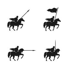 Horseback Knight Silhouette Lo...