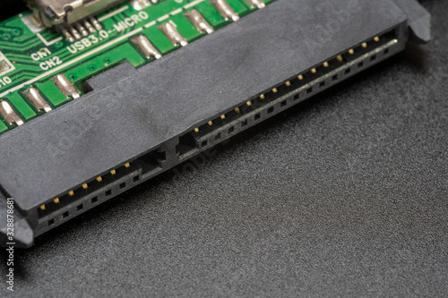 Sata hard drive connector on a black background Canvas Print