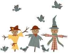 Cute Scarecrows And Crow Birds Hand-drawn Vector Illustration Isolated On White Background. Cartoon Farming Illustration For Kids
