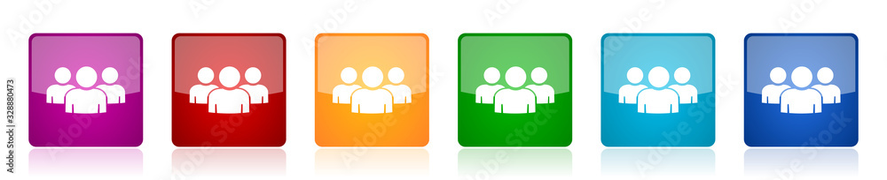 Fototapeta Group of people icon set, team, teamwork colorful square glossy vector illustrations in 6 options for web design and mobile applications