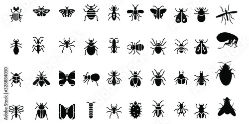 Photographie Cockroach insect icons set on white background