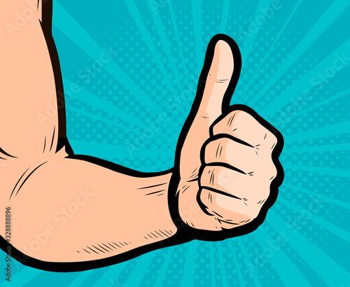 Fotomural Thumb up hand gesture. Retro comic pop art vector illustration