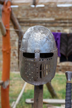 The Antique Knight's Helmet On...