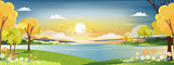 Fototapeta Fototapety z naturą - Panorama landscape of spring village with green meadow on hills with blue and orange sky, Vector Summer or Spring landscape, Panoramic countryside by the lake with sunset in evening.