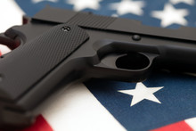 Semi-automatic Pistol Lying On...