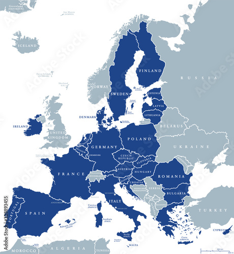 Map of European Union member states after Brexit, English labeling Wallpaper Mural