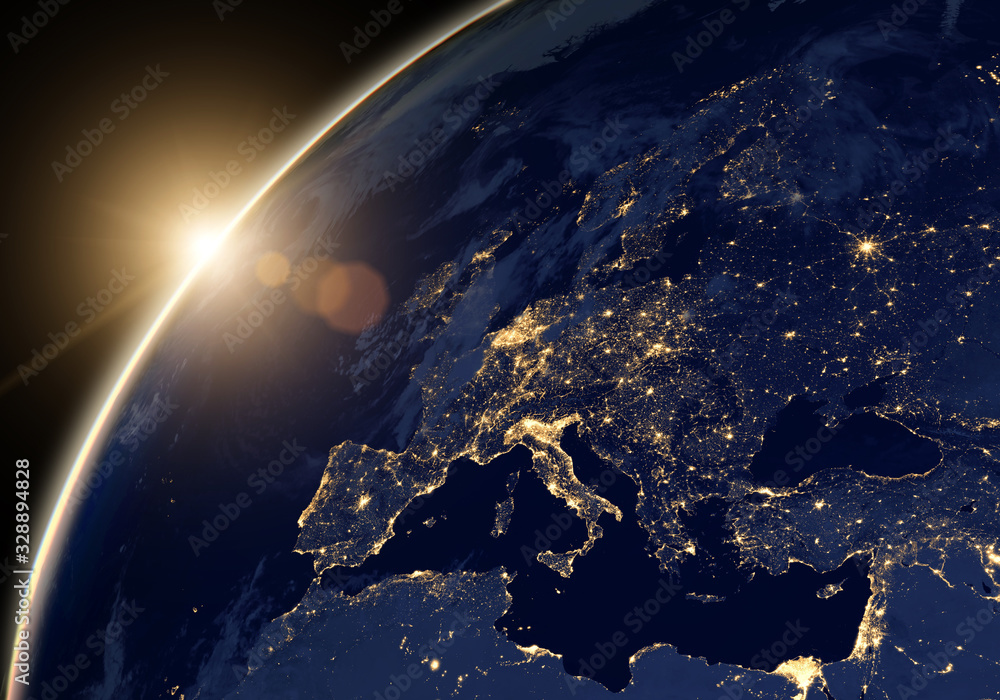 Fototapeta Planet Earth at night, view of city lights showing human activity in Europe and Middle East from space. Elements of this image furnished by NASA.