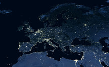 Earth At Night, City Lights Showing Human Activity In Europe And Middle East From Space. Elements Of This Image Furnished By NASA.