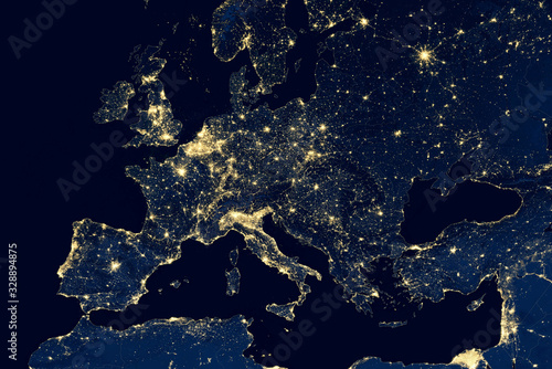 Earth at night, city lights showing human activity in Europe from space. Elements of this image furnished by NASA.