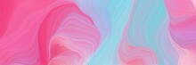 Vibrant Colored Banner Background With Pastel Violet, Hot Pink And Sky Blue Color. Abstract Waves Design