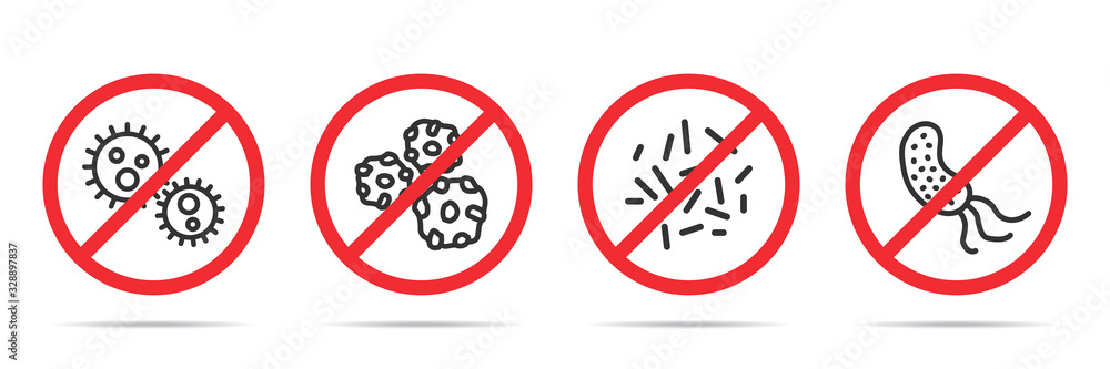 Fototapeta Set of no virus icons in four different versions in a flat design. Vector illustration