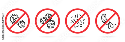 Fototapeta Set of no virus icons in four different versions in a flat design