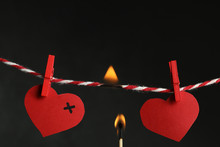 Red Paper Hearts On Rope And B...