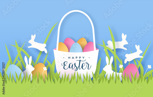 Obraz Happy easter paper cut card of colorful rabbit egg - fototapety do salonu