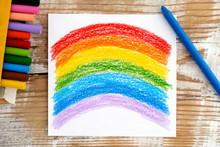 Hand Drawing Rainbow With Wax ...