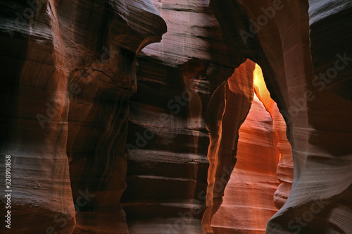 Landscape of Upper Antelope Slot Canyon aglow with reflected sunlight, Arizona, Wallpaper Mural
