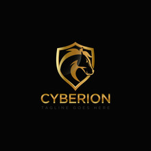 Cyberion Logo, With Cutting Edge Head Horse And Shield Vektor