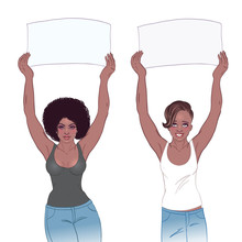 Young African American Girl Holding Banner. Feminist Protest Concept. Black Woman Rights. Vector Illustration Isolated.