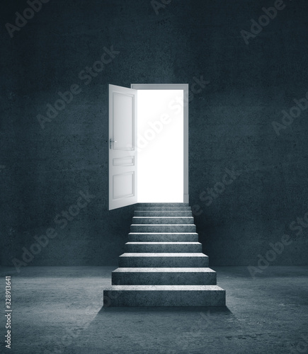 Abstract concrete interior with stairs and open door w