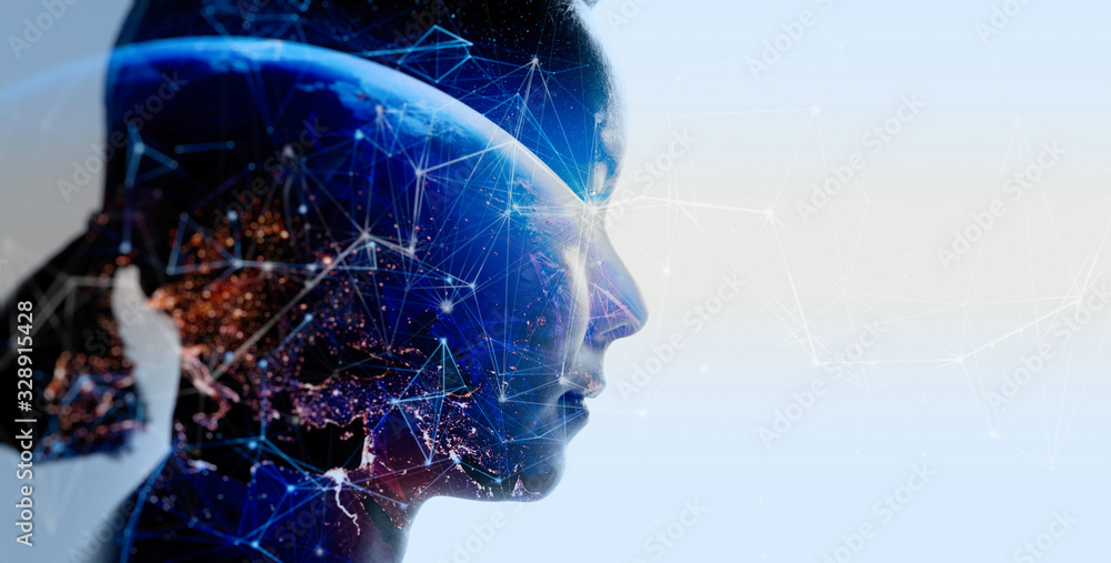 Fototapeta Double exposure of business woman with The World of Futuristic internet communication concept.Elements of this image furnished by NASA.