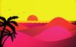 canvas print picture - atardecer en playa
