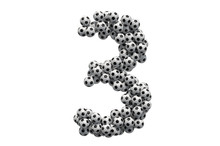Number 3 From Soccer Balls, 3D...