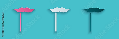 Canvastavla Paper cut Paper mustache on stick icon isolated on blue background