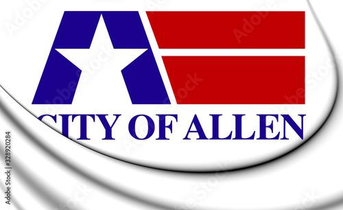 Photo 3D Flag of Allen (Texas), USA. 3D Illustration.