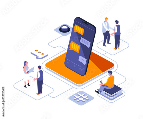 Obraz Stay connected isometric landing page vector template. Corporate communication technology website homepage interface illustration layout. Business correspondence web banner isometry concept - fototapety do salonu