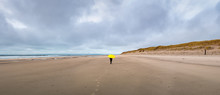 Panoramic Winter Beach Scene. ...