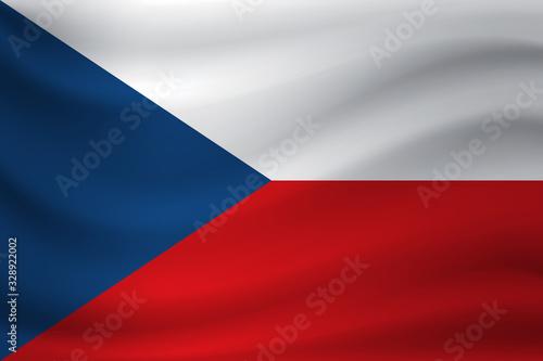 Waving flag of Czech Republic. Vector illustration Fototapet