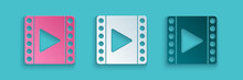 Paper Cut Play Video Icon Isol...