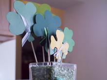 St Patricks Day Vase Arrangement With Green Clovers