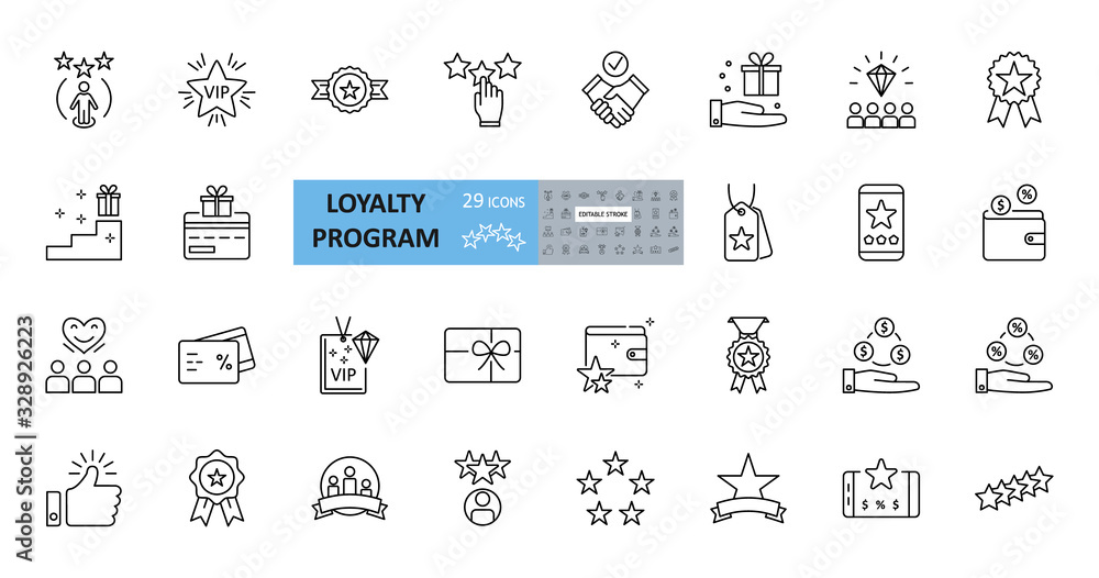 Fototapeta Loyalty program icons. 29 vector images in a set with editable stroke. Includes membership, reviews and likes, stars, loyalty card, percentage of discounts, gifts, diamonds, VIP status.