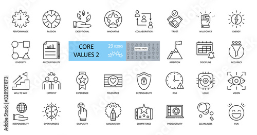 Fotografía Set of icons core values