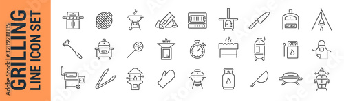 Grilling vector isolated line icon set. BBQ barbecue grill Canvas