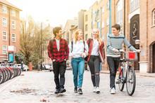 Teen Group Of Friends Walking ...
