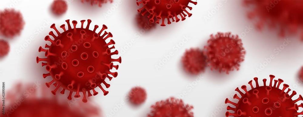 Fototapeta Vector influenza coronavirus background, virus 2019. 3d illustration, asian flu. Realistic bacteria, microbe infection and blood, biology banner, concept. Vector bacillus, microorganism in closeup.