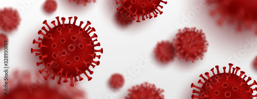 Obraz Vector influenza coronavirus background, virus 2019. 3d illustration, asian flu. Realistic bacteria, microbe infection and blood, biology banner, concept. Vector bacillus, microorganism in closeup. - fototapety do salonu