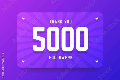 Fényképezés 5000 followers illustration in gradient violet style