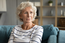 Pensive Old Middle-aged 60s Wo...