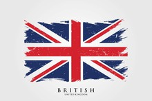 United Kingdom Flag In Grunge Style. Brush Stroke British Flag. Vector Illustration