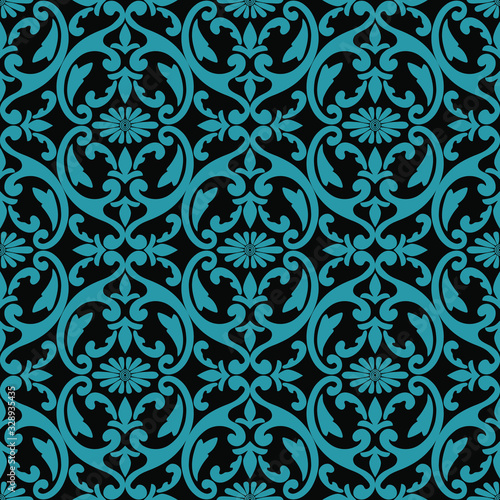 Fototapeta Damask seamless floral pattern. Blue and green ornament on a black background in vector, Wallpaper, fabric, tile obraz